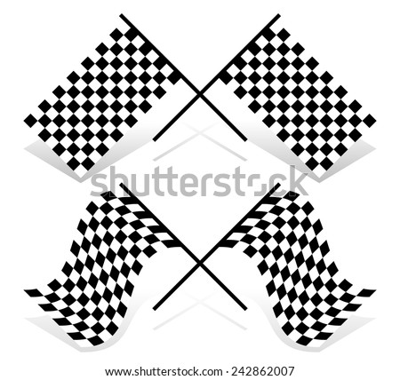 Vector illustration of crossed racing flags. Resting and waving versions included - stock vector