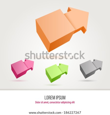 Vector illustration of cube with arrow  - stock vector