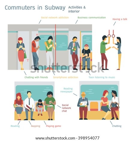 Vector illustration of cummuters or passangers activities in subway. Flat design with character design, diversity with multi-ethnic, each layers separated, easy to use.  - stock vector