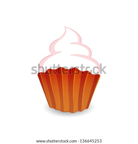 Vector illustration of cupcake isolated on white background - stock vector