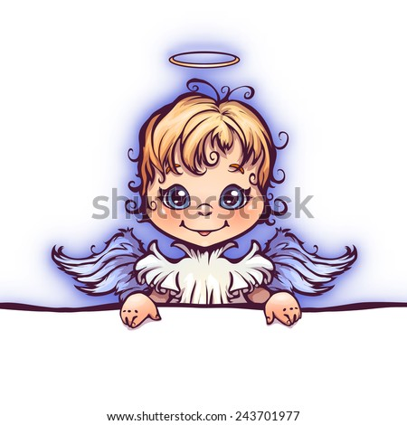 Vector illustration of cute angel with panel for text - stock vector