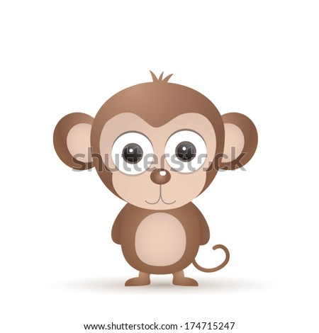 Vector illustration of cute animal, monkey - stock vector