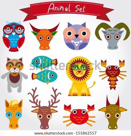 Vector illustration of cute animal set including lion, cat, horse, cow, scorpion, cancer, fish, owls, deer, goat, ox. - stock vector