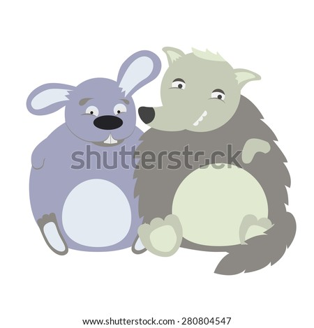 Vector illustration of cute animal. Vector illustration of cartoon wolf and rabbit. Cute cartoon wolf and rabbit - stock vector