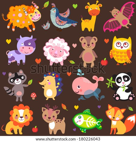 Vector illustration of cute animals: Yak, quail, giraffe, vampire bat, cow, sheep, bear, owl, raccoon, hedgehog, whale, panda, lion, deer, x-ray fish, fox. - stock vector