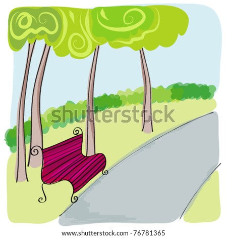 Vector illustration of cute bench in park - stock vector