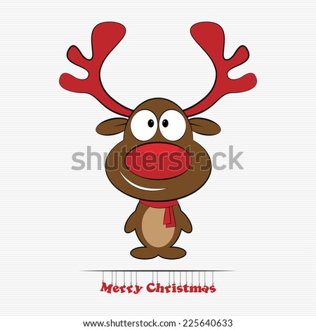 Vector illustration of cute cartoon Christmas reindeer  - stock vector