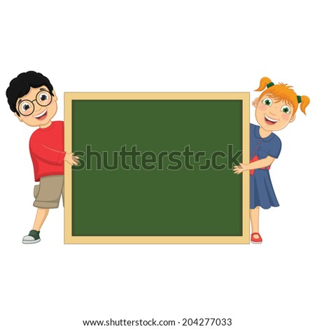 Vector Illustration Of Cute Children Holding Board - stock vector