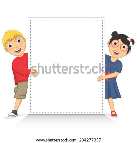 Vector Illustration Of Cute Children Holding White Banner - stock vector