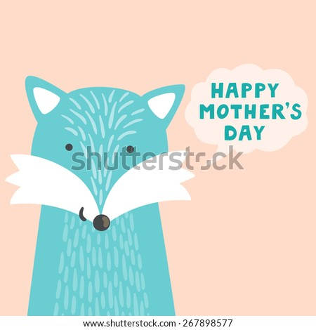 """Vector illustration of cute fox and hand written text """"Happy mother's day"""". Childish background with smiling cartoon character. Holiday card. - stock vector"""