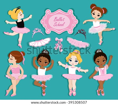 Vector illustration of cute little ballerinas.  Ballet Slippers. Clip art cute characters, pink tutus, ballet shoes. - stock vector