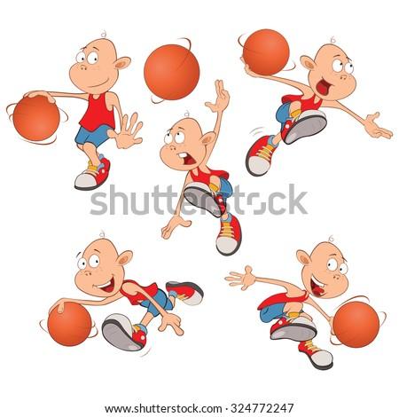 Vector Illustration of Cute Little Boys. Basketball players - stock vector