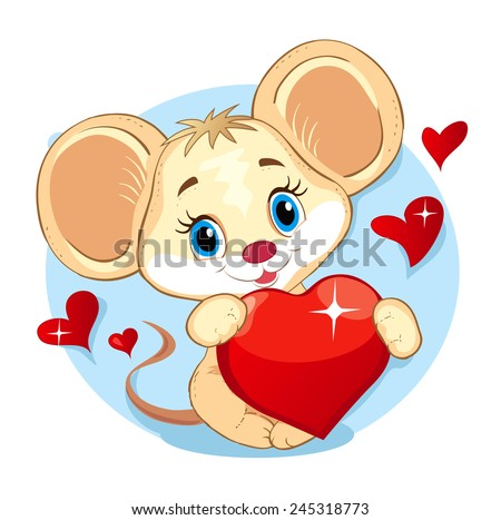Vector illustration of Cute Little Mouse holding a Heart - stock vector