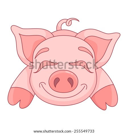 Vector illustration of cute pig, funny piggy lies and smiling - stock vector