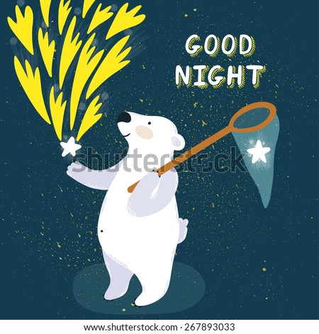 """Vector illustration of cute polar bear with stars and hand written text """"Good night"""". Childish background with smiling cartoon character. - stock vector"""