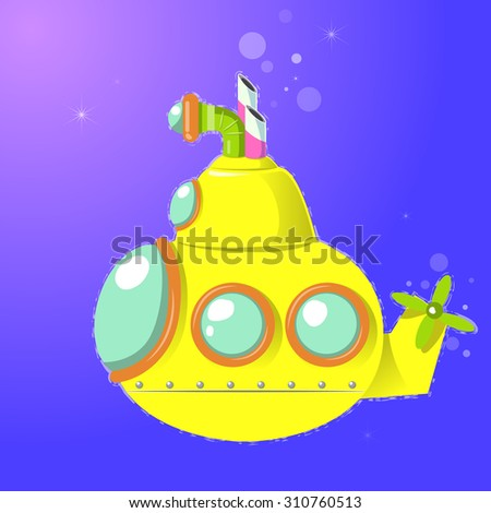 Vector illustration of cute yellow submarine isolated, undersea - stock vector