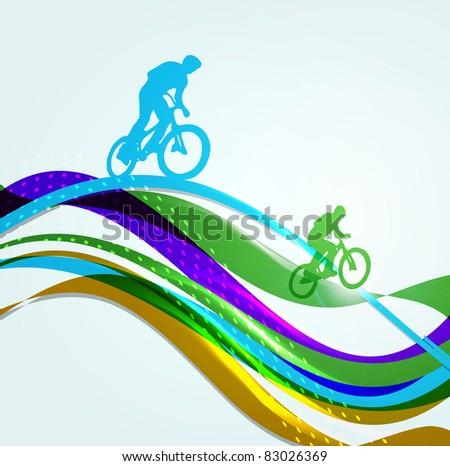 Vector illustration of cyclist on rainbow - stock vector