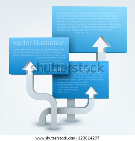 Vector illustration of 3d arrows with blanks, logo design - stock vector
