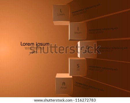vector illustration of 3d boxes on the wall - stock vector