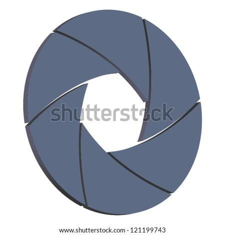 Vector illustration of 3 D camera shutter isolated on white background - stock vector