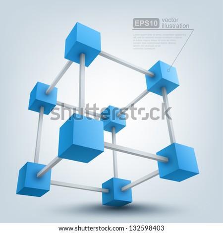 Vector illustration of 3d cubes, logo design - stock vector