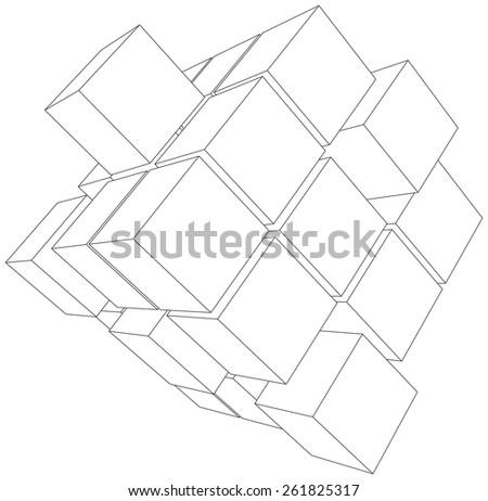 Vector illustration of 3d cubes. Vector rendering of 3d - stock vector