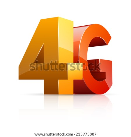 Vector illustration of 3D glossy 4G icon isolated on white background. - stock vector