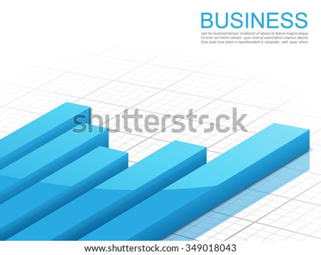 Vector illustration of 3d graph, Business concept, vector - stock vector