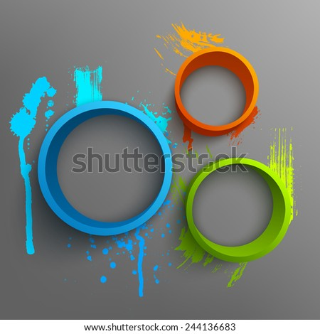 Vector illustration of 3d rings. Background design for banner, poster, flyer, card, postcard, cover, brochure. Hand drawn watercolor paint splash. - stock vector