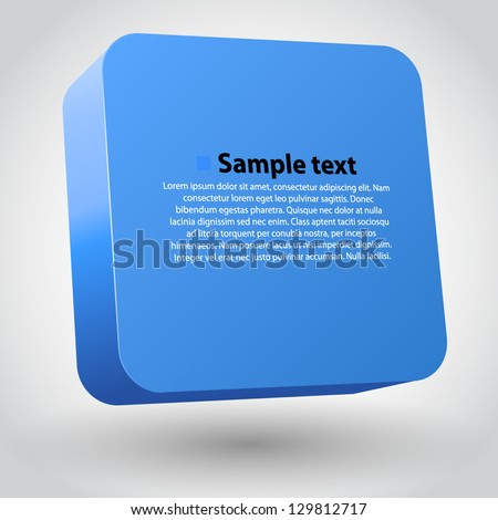Vector illustration of 3d square. Blue variant - stock vector