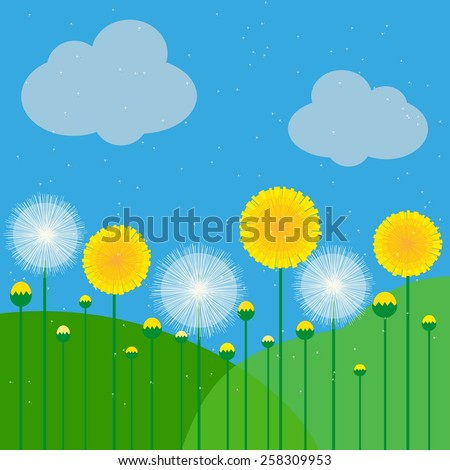 vector illustration of dandelions on a background of sky and meadows - stock vector