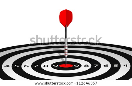 Vector illustration of dart in bull's eye of lined dartboard - stock vector