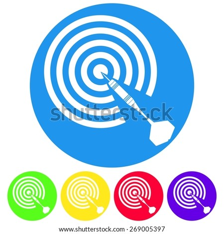 Vector illustration of dartboard and dart arrow icon on white background. Target hit. Circle - stock vector