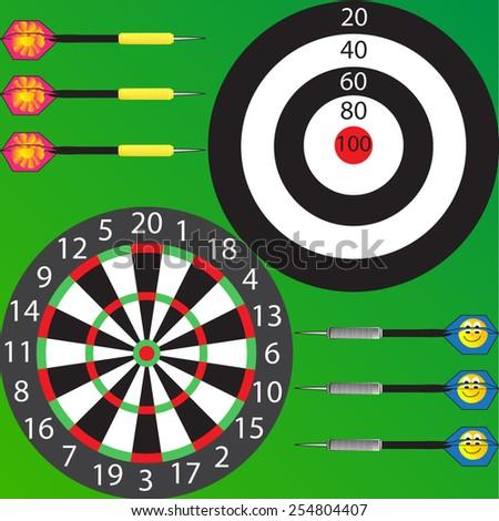 Vector illustration of darts. Vector eps 10. - stock vector