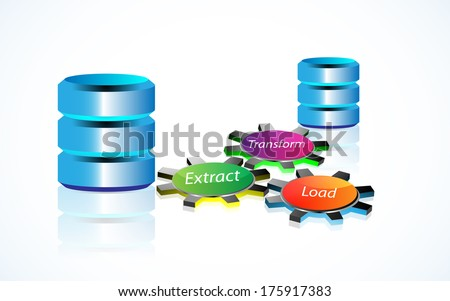 Vector illustration of Data warehousing and represents data integration, data extract, load and transformation - stock vector