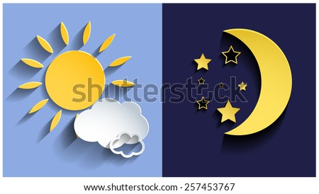 Vector illustration of day and night. 3d sun and moon. Vector eps10. - stock vector