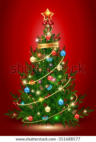 vector illustration of decorated Christmas tree,Christmas tree,Vector illustration - Christmas tree, - stock vector