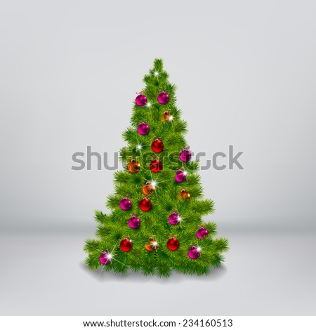 vector illustration of decorated Christmas tree realistic illustration - stock vector