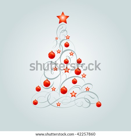 Vector illustration of decorated Christmas tree with place for copy\space - stock vector