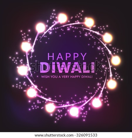 Vector illustration of decorated lighted background for Diwali. - stock vector