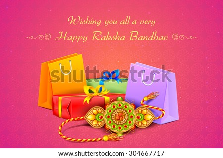 vector illustration of decorated rakhi with gift for Raksha Bandhan - stock vector