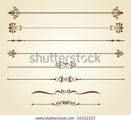 Vector illustration of decorative borders set. - stock vector