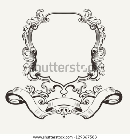 Vector Illustration Of Decorative Frame And Banner - stock vector