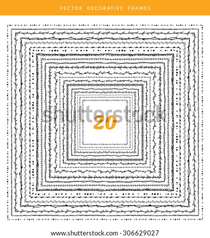 Vector illustration of Decorative frames 20 set - stock vector