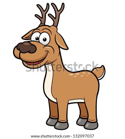Vector illustration of Deer cartoon - stock vector