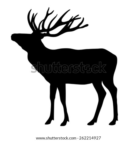 Vector illustration of deer silhouette - stock vector