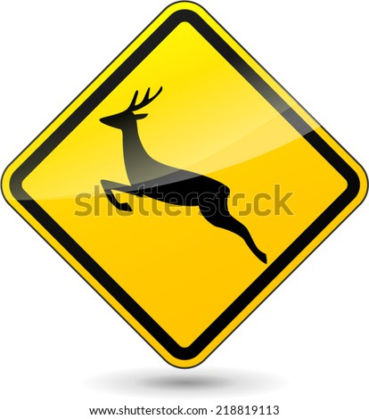 Vector illustration of deer yellow sign on white background - stock vector