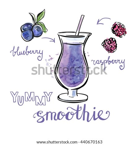Vector illustration of delicious fruit smoothie. Hand drawn,  made of blueberry and raspberry. Black outline and bright textured stains with artistic drips. Isolated on white - stock vector