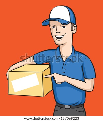 Vector illustration of delivery man smiling with box. Easy-edit layered vector EPS10 file scalable to any size without quality loss. High resolution raster JPG file is included. - stock vector