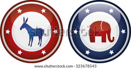 Vector illustration of democrats vs republicans mascots on a badge or shield. - stock vector